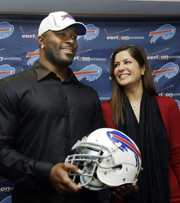 FILE - In this March 15, 2012 photo, Buffalo Bills' Mario Williams poses for a photo with his fiancee Erin Marzouki smile after an NFL football news conference in Orchard Park, N.Y. Here's one thing t