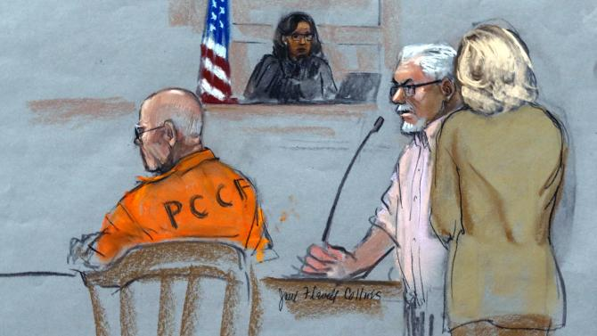 """In this courtroom sketch, Steven Davis, second right, brother of slain Debra Davis, is comforted by his wife, right, as he testifies at the sentencing hearing for James """"Whitey"""" Bulger, left, at federal court in Boston, Wednesday, Nov. 13, 2013. Bulger was convicted in August in a broad indictment that included racketeering charges in a string of murders in the 1970s and '80s, as well as extortion, money-laundering and weapons charges. Jurors could not agree whether Bulger was involved in Debra Davis' killing. (AP Photo/Jane Flavell Collins)"""