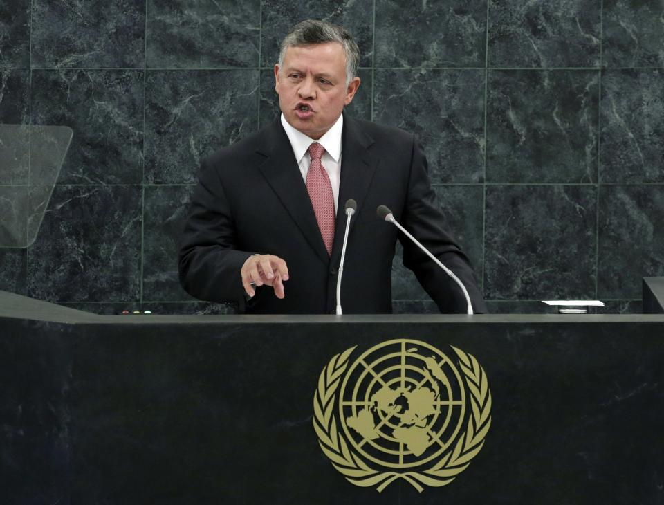 Jordan's King Abdullah II Bin Al Hussein addresses the 68th session of the United Nations General Assembly, Tuesday, Sept. 24, 2013 at U.N. headquarters. (AP Photo/Richard Drew)