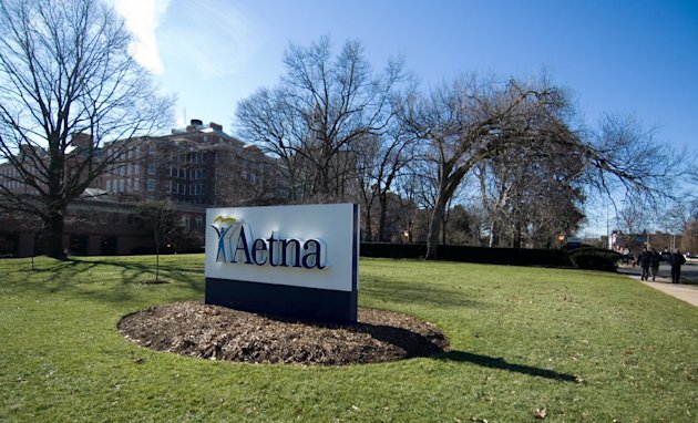 FILE - In a Feb. 9, 2006 file photo a sign for Aetna insurance is seen in Hartford, Conn. The Hartford, Conn., company said Monday Aug. 20, 2012 that it would buy Coventry Health Care for $5.7 billion. (AP Photo/Douglas Healey, file)