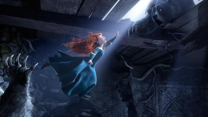 """In this 2012 publicity image released by Disney/Pixar, Princess Merida, (voice by Kelly Macdonald), is shown flying in the 3D computer animated Disney/Pixar film, """"Brave,"""" releasing June 22, 2012, in North America. Dolby Atmos, the latest in movie theater audio debuting on 14 screens with """"Brave,"""" intends to make theaters sound more 3-D than ever before. (AP Photo/Disney/Pixar)"""