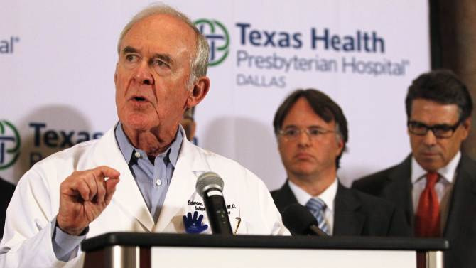 Goodman speaks at a media conference at Texas Health Presbyterian Hospital