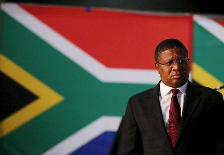 South Africa's Sports Minister Fikile Mbalula looks on during a media briefing in Johannesburg
