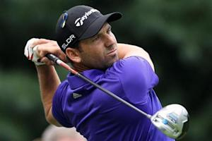 Garcia of Spain tees off on the sixth hole during the Deutsche Bank Championship golf tournament in Norton