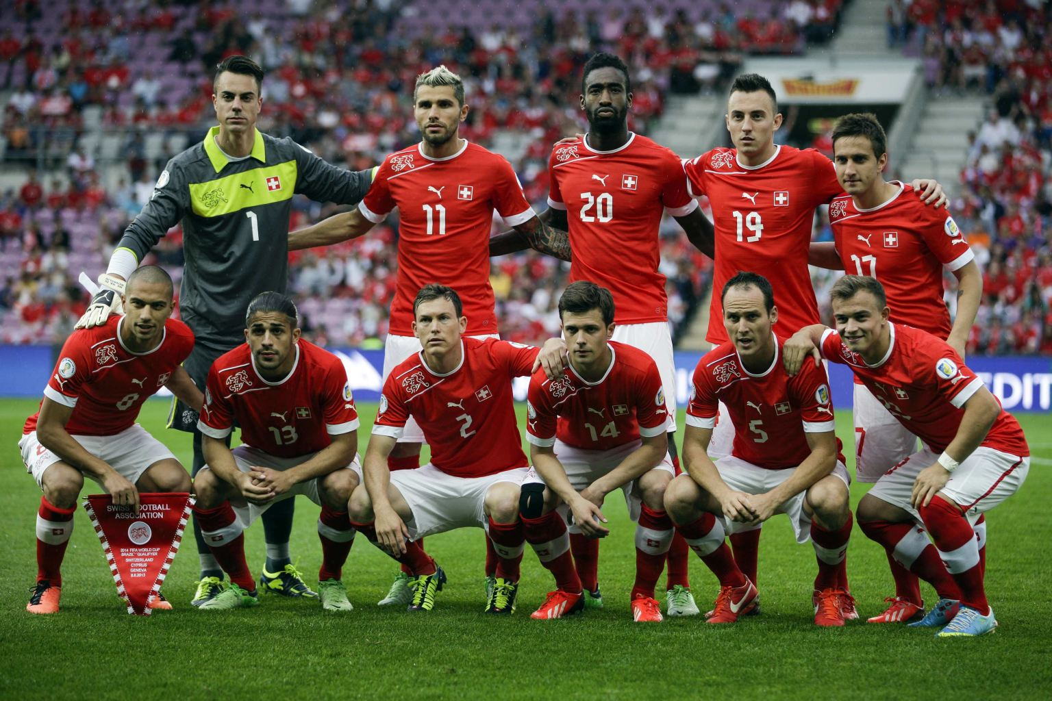 For a team photo before their 2014 world cup qualifying soccer match