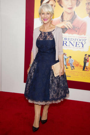 """Helen Mirren attends """"The Hundred-Foot Journey"""" premiere on Monday, Aug. 4, 2014, in New York. (Photo by Charles Sykes/Invision/AP)"""