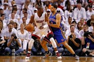 Dwyane Wade (L) of the Miami Heat and New York Knicks' Landry Fields during game two of the NBA Eastern Conference first-round playoff series on April 30. Wade scored 25 points to power Miami over New York 104-94