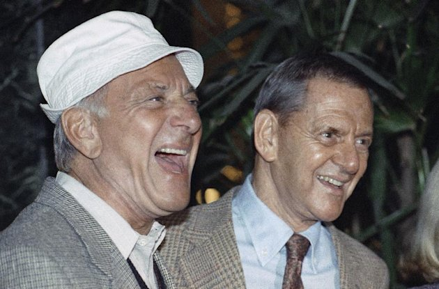 FILE - In this Dec. 3, 1992 file photo, Jack Klugman, left, and Tony Randall laugh at a news conference announcing that they will reprise their most famous roles as Oscar Madison and Felix Unger respectively, for a one-night benefit performance of Neil Simons play, &quot;The Odd Couple&quot;, in Beverly Hills, Calif. Klugman, the prolific, craggy-faced character actor and regular guy who was loved by millions as the messy one in TV&#39;s &quot;The Odd Couple&quot; and the crime-fighting coroner in &quot;Quincy, M.E.,&quot; died Monday, a son said. He was 90. (AP Photo/Craig Fujii, File)