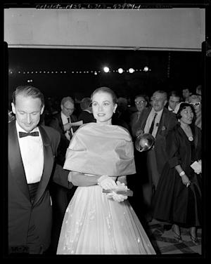 Grace Kelly attends the Oscar Awards.