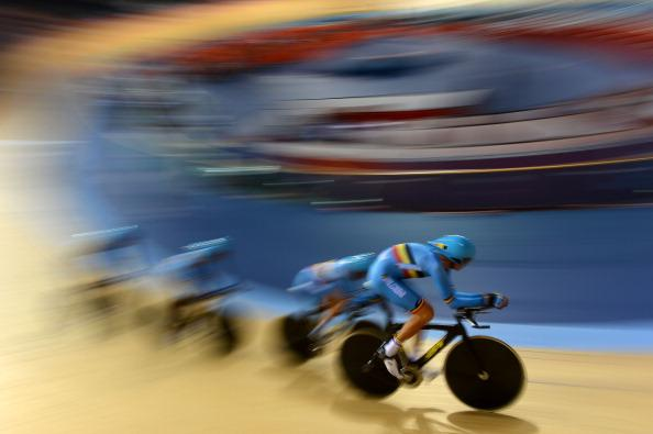 The Men's Team Pursuit squad of Belgium form a paceline during a Track Cycling practise session ahead of the London 2012 Olympic Games at the Velodrome in Olympic Park on July 27, 2012 in London, England. (Photo by Lars Baron/Getty Images)