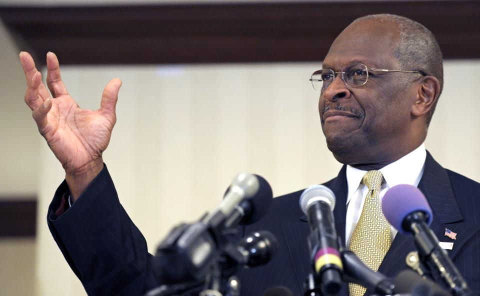 Republican presidential candidate Herman Cain speaks after meeting with doctors attending the Docs4PatientCare conference in Alexandria, Va., Wednesday, Nov. 2, 2011. (AP Photo/Cliff Owen)
