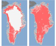 "These undated handout images provided by NASA shows the extent of surface melt over Greenland's ice sheet on July 8, left, and July 12, right. Measurements from three satellites showed that on July 8, about 40 percent of the ice sheet had undergone thawing at or near the surface. In just a few days, the melting had dramatically accelerated and an estimated 97 percent of the ice sheet surface had thawed by July 12. In the image, the areas classified as ""probable melt"" (light pink) correspond to those sites where at least one satellite detected surface melting. The areas classified as ""melt"" (dark pink) correspond to sites where two or three satellites detected surface melting. Nearly every part of the massive Greenland ice sheet suddenly and strangely melted a bit this month in a freak event that concerned scientists had never witnessed before. NASA says three different satellites saw what it calls unprecedented melting from July 8 to July 12. Most of the thick ice remains, but what was unusual was the widespread area where some melting occurred. (AP Photo/Nicolo E. DiGirolamo, SSAI/NASA GSFC, and Jesse Allen, NASA Earth Observatory"