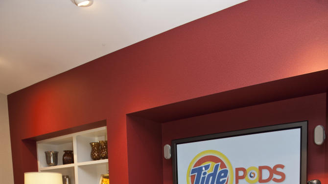 FOR RELEASE AT 3:01 A.M EST FRIDAY, MARCH 2, 2012. THIS PHOTO MAY NOT BE PUBLISHED IN PRINT, ONLINE OR FOR BROADCAST UNTIL 3:01 A.M. EST. - This undated photo provided by Procter & Gamble Co., shows a mock-living room where Procter & Gamble tests consumer behavior with its products, at Beckett Ridge Innovation Center. (AP Photo/Procter & Gamble Co.)