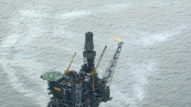 An offshore oil rig in the North Sea off the British coast
