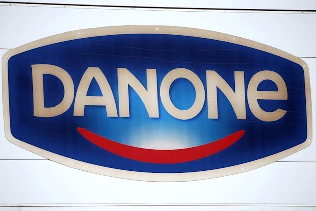 French food firm Danone's logo at the plant in Ferrieres-en-Bray, France, on February 19, 2013