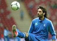 Greek forward Giorgios Samaras takes part in a team training session on June 7, 2012 at the National Stadium in Warsaw, on the eve of the Euro 2012 championship opening football match
