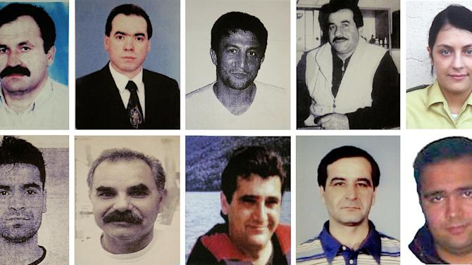 FILE - This combination image of handout pictures  released by the federal criminal Police Office ( BKA)  shows  undated file photos of victims of the far right terror group NSU . top from left:  Enver Simsek, Abdurrahim Ozudogru, Suleyman Taskopru, Habil Kilic and police woman  Michele Kiesewetter and bottom from left : Mehmet Turgut, Ismail Yasar, Theodorus Boulgarides, Mehmet Kubasik und Halit Yozgat. Beate Zschaepe is alleged to be the last surviving member of the self-styled National Socialist Underground, a German neo-Nazi group accused in the killing of nine businessmen from ethnic minorities and a policewoman between 2000 and 2007.   (AP Photo/dpa)