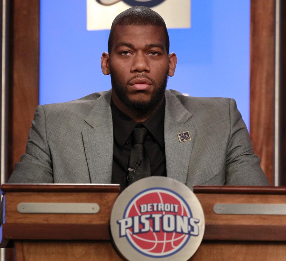 Detroit Pistons' Greg Monroe attends the 2011 NBA basketball draft lottery, Tuesday, May 17, 2011 in Secaucus, N.J. (AP Photo/Julio Cortez)