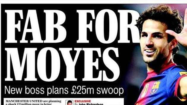 Fabregas, Manchester United, Sunday Express