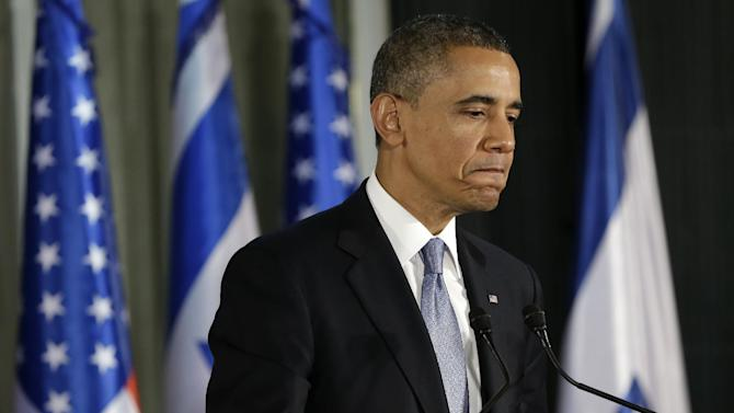 President Barack Obama pauses as he answers a question during a joint news conference with Israeli Prime Minister Benjamin Netanyahu in Jerusalem, Israel, Wednesday, March 20, 2013. (AP Photo/Pablo Martinez Monsivais)