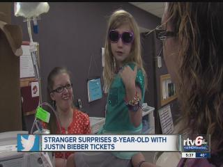 Girl, 8, awaiting life-saving heart transplant surprised with tickets to Indy Justin Bieber concert