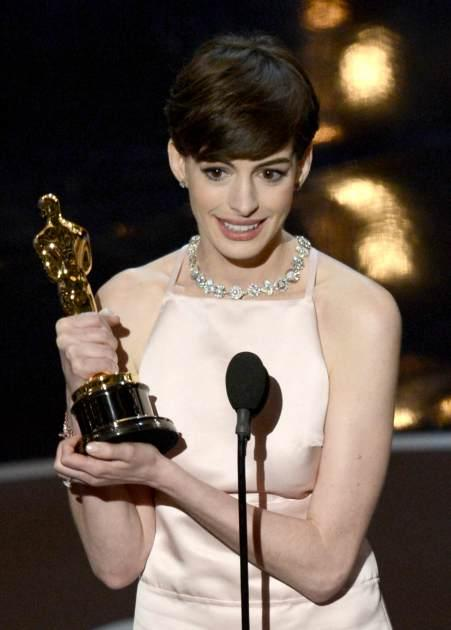 Anne Hathaway accepts the Best Supporting Actress award for 'Les Miserables' onstage during the Oscars held at the Dolby Theatre in Hollywood on February 24, 2013 -- Getty Images