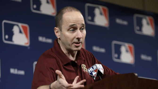 New York Yankees general manager Brian Cashman answers questions concerning third baseman Alex Rodriguez at the baseball winter meetings on Monday, Dec. 3, 2012, in Nashville, Tenn. Rodriguez will have surgery on his left hip and will miss the start of the season and possibly the entire first half, the Yankees said Monday. (AP Photo/Mark Humphrey)