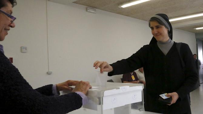 Nun Forcades, leader of 'Proces Constituent' party casts her ballot at a polling station during municipal elections in Marganell, near Barcelona