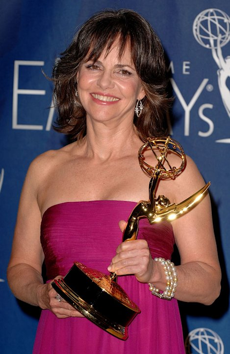 Sally Field poses with her Best Actress in a Drama Emmy in the press room at the 59th Annual Primetime Emmy Awards at the Shrine Auditorium on September 16, 2007 in Los Angeles, California.