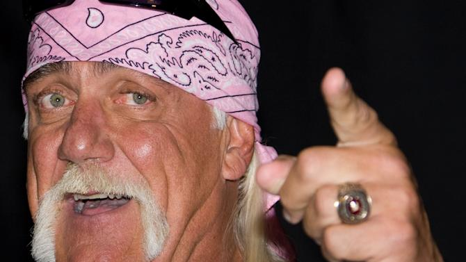"""FILE - In this Oct. 27, 2009 file photo, Hulk Hogan attends a news conference to announce his return to wrestling with TNA Wrestling held at Madison Square Garden in New York.  Hogan is suing a Tampa Bay-based disc jockey, the DJ's ex-wife and a New York media group over a sex tape. According to a news release sent by a publicist, two lawsuits will be discussed during a news conference on Monday, Oct. 15, 2012, near the federal courthouse in Tampa. Hogan said he was illegally taped having sex with the ex-wife of DJ Bubba """"The Love Sponge"""" Clem without his consent six years ago. The video of Hogan and Heather Clem was leaked to the online gossip site Gawker, which posted portions. Hogan has sent a cease-and-desist letter to Gawker, which has not removed the video. (AP Photo/Charles Sykes)"""