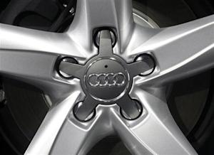 The company logo of Volkswagen's Audi AG premium unit is pictured during the annual news conference in Ingolstadt