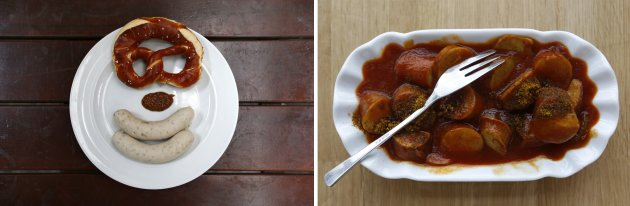 File photo of Bavarian veal sausage served in Munich and Currywurst served in Dortmund