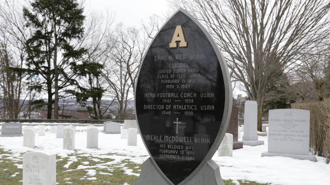 """The headstone of celebrated Army football coach Earl """"Red"""" Blaik is seen at the West Point Cemetery on Friday, March 22, 2013, in West Point, N.Y. Graves of soldiers from every U.S. war make this small plot of the land the most hallowed ground on the nation's the most venerable military academy. And after 196 years and more than 8,000 souls, it's close to full. (AP Photo/Mike Groll)"""