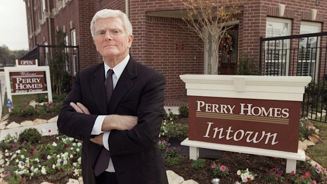 FILE - This is a Dec. 10, 2002 file photo of Houston homebuilder Bob Perry, posing at the sales center at one of his Houston developments. The deaths this year of three major Texas Republican donors, including a billionaire who died over the weekend, could signal a generational change for party kingmakers in the nation's largest GOP stronghold. Harold Simmons' death Saturday came after Republicans lost home builder Bob Perry in April and businessman Leo Linbeck Jr. in June. For decades, all three helped bankroll political campaigns both in Texas and nationwide. (AP Photo/Houston Chronicle, Melissa Phillip, File)