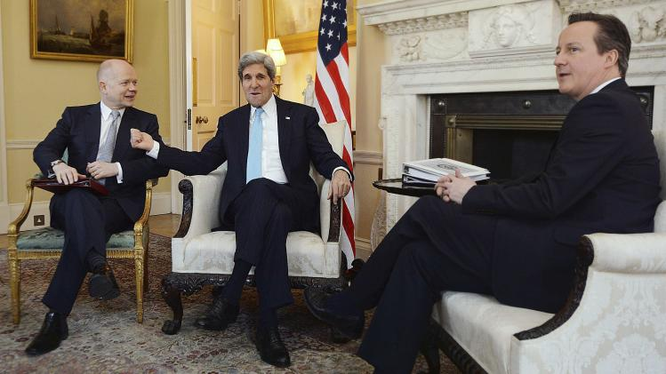 U.S. Secretary of State John Kerry meets with Britain's Prime Minister David Cameron and Kerry's counterpart William Hague at Number 10 Downing Street in London