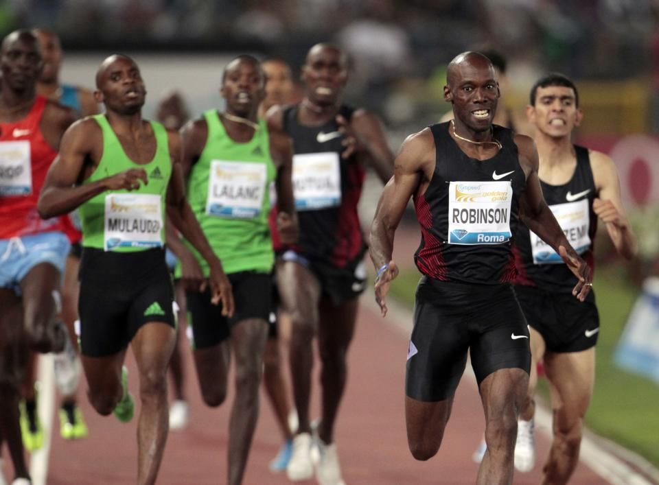 U.S. athlete Khadevis Robinson, right, competes on his way to win the men's 800m event during the Golden Gala athletics meeting, in Rome, Thursday, May 26, 2011. (AP Photo/Gregorio Borgia)