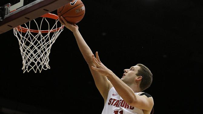 Stanford's Andy Brown lays up a shot against Oregon during the first half of an NCAA college basketball game Wednesday, Jan. 30, 2013, in Stanford, Calif. (AP Photo/Ben Margot)