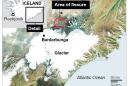 Map locates Iceland eruption.; 2c x 4 inches; 96.3 mm x 101 mm;
