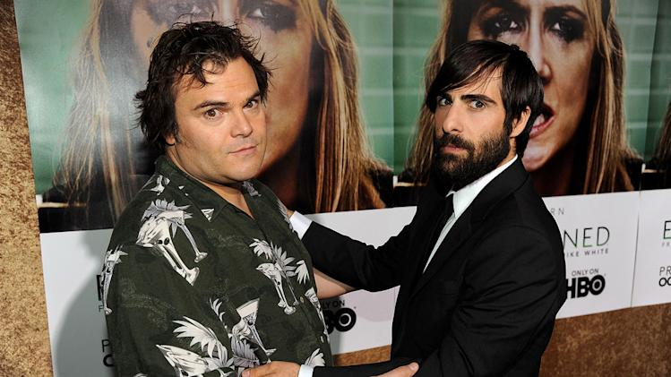 "Jack Black and Jason Schwartzman arrive at the premiere of HBO's ""Enlightened&quot at Paramount Theater on October 6, 2011 in Hollywood, California."
