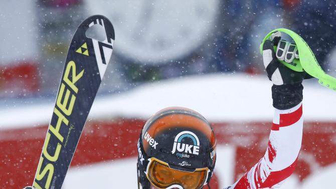 Hosp from Austria reacts after her second run of the World Cup Women's Slalom race in Kuehtai ski resort
