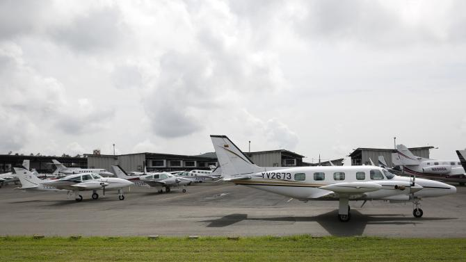 Private planes are seen at Charallave airport outside Caracas