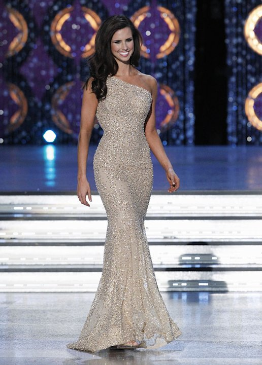 Kendall Morris, Miss Texas, competes as one of the top 10 in the evening gown competition during the The 2012 Miss America Pageant at the Planet Hollywood Resort & Casino on January 14, 2012 in Las Ve