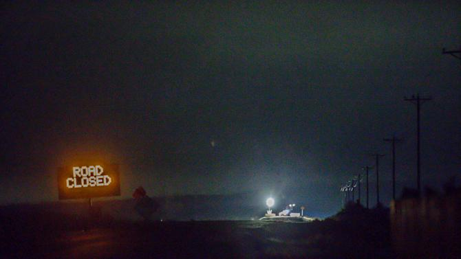 Lights are seen from the Narrows roadblock near Burns, Ore., as .FBI agents have surrounded the remaining four occupiers at the Malheur National Wildlife Refuge, on Wednesday, Feb.10, 2016. The four are the last remnants of an armed group that seized the Malheur National Wildlife Refuge on Jan. 2 to oppose federal land-use policies.  (Thomas Boyd/The Oregonian via AP)