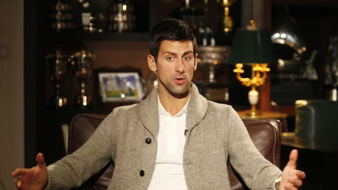 Tennis player Novak Djokovic of Serbia talks during an interview in Belgrade