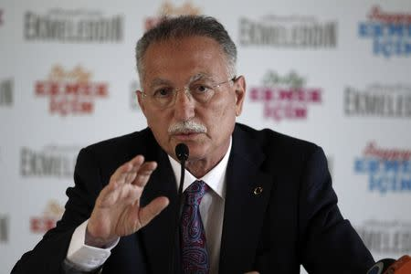 Turkish main opposition presidential candidate Ihsanoglu speaks during a news conference