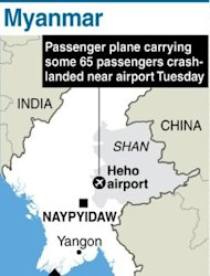 <p>Graphic showing Myanmar's eastern Shan state, where a plane carrying 65 passengers crash-landed three kilometres away from Heho airport</p>