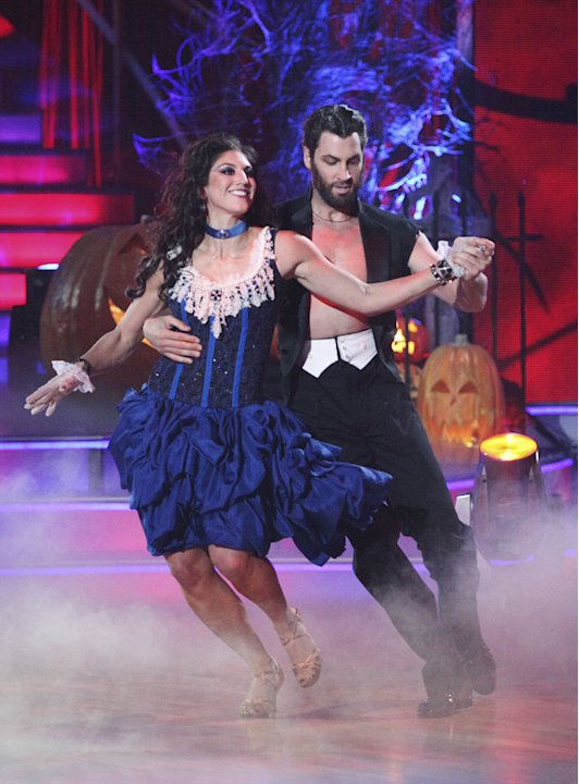 "Maksim Chmerkovskiy and Hope Solo perform on ""Dancing With the Stars."""