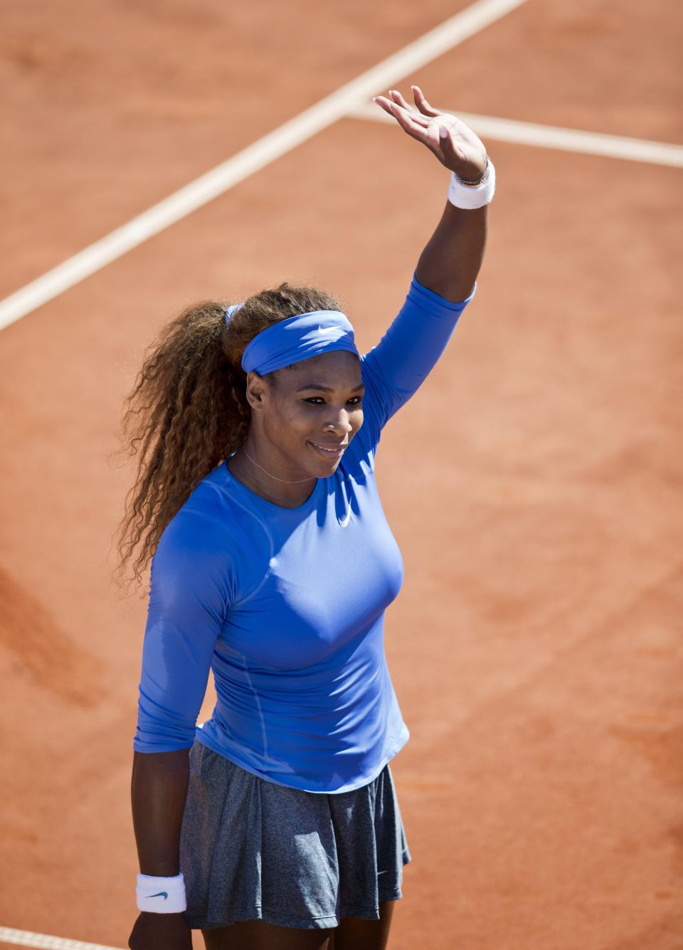 Serena Williams of the U.S. reacts after winning her women's singles semifinal match against Klara Zakopalova of the Czech Republic at the Swedish Open tennis tournament in Bastad, Sweden, Saturday, July 20, 2013. (AP Photo/Scanpix Sweden, Bjorn Larsson Rosvall) SWEDEN OUT