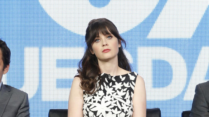Zooey Deschanel attends the Fox Winter TCA Tour at the Langham Huntington Hotel on Tuesday, Jan. 8, 2013, in Pasadena, Calif. (Photo by Todd Williamson/Invision/AP)