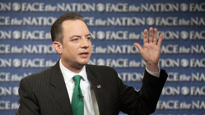 """In this Sunday, March 17, 2013, photo provided by CBS News, Republican National Committee Chairman Reince Priebus speaks on CBS's """"Face the Nation"""" in Washington. Priebus says the party will spend $10 million this year to send hundreds of paid staffers into communities to talk with Hispanic, black and Asian voters. He is scheduled to outline his plan for the party on Monday, and said part of that plan will be a nominating convention in June or July instead of August and fewer debates during the primaries. (AP Photo/CBS News, Chris Usher)"""